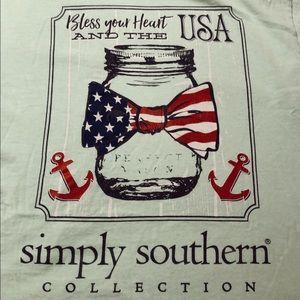 Mint Green USA Simply Southern T Shirt Oversized